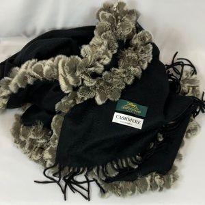 LONGCHAMP PARIS cashmere & mink wrap